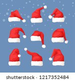 hand drawn christmas hat and... | Shutterstock .eps vector #1217352484