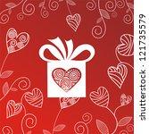 romantic gift heart red... | Shutterstock .eps vector #121735579