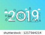 weekend 2019 word trendy... | Shutterstock .eps vector #1217364214