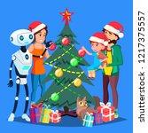 robot helps to decorate... | Shutterstock .eps vector #1217375557