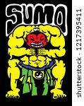a sumo wrestler  hand drawn... | Shutterstock .eps vector #1217395411