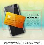 smartphone   credit card banner.... | Shutterstock .eps vector #1217397904