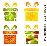 christmas gift boxes set... | Shutterstock . vector #121740031