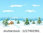 suburban house covered snow.... | Shutterstock .eps vector #1217402581