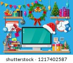 christmas or new year office... | Shutterstock .eps vector #1217402587