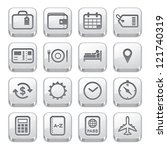Travel Icons : Silver Style - stock vector