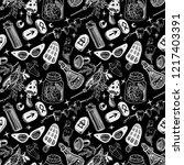 witchcraft seamless pattern... | Shutterstock . vector #1217403391