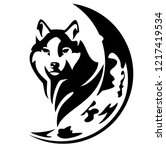 wild wolf head and crescent... | Shutterstock .eps vector #1217419534