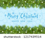 christmas tree border with... | Shutterstock .eps vector #1217439514