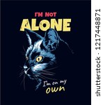 Stock vector slogan with black cat illustration 1217448871