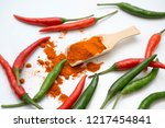 close up chili peppers isolated ... | Shutterstock . vector #1217454841