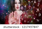 time  woman and numerology | Shutterstock . vector #1217457847