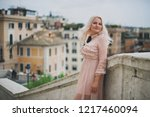 amazing blond woman in rome ... | Shutterstock . vector #1217460094