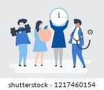 characters of people holding... | Shutterstock .eps vector #1217460154