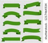 big green ribbons set...   Shutterstock .eps vector #1217464534