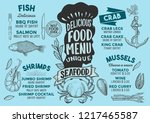 seafood menu template for... | Shutterstock .eps vector #1217465587