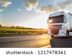 truck with container on highway ... | Shutterstock . vector #1217478361