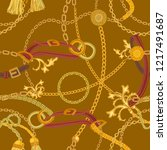 baroque print with chains ... | Shutterstock .eps vector #1217491687