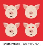 pig. symbol of the year 2019.... | Shutterstock .eps vector #1217492764