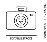smiling photo camera linear... | Shutterstock .eps vector #1217527507