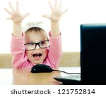 cute baby with glasses looking... | Shutterstock . vector #121752814