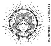 angel's head with halo.... | Shutterstock .eps vector #1217551651
