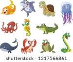 group of cartoon fish  reptiles ... | Shutterstock .eps vector #1217566861