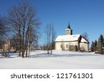 Old Rural Church In The Snow A...