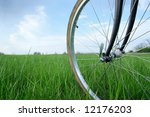 bicycle wheel on a green field | Shutterstock . vector #12176203