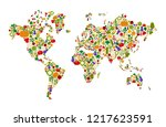 raw food world map made of flat ... | Shutterstock .eps vector #1217623591