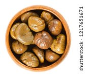 cooked sweet chestnuts in... | Shutterstock . vector #1217651671