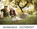 smiling elder old couple... | Shutterstock . vector #1217656327