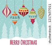 christmas card with  balls .... | Shutterstock .eps vector #1217657011