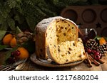 traditional christmas panettone ... | Shutterstock . vector #1217680204