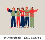 diverse friend group in... | Shutterstock .eps vector #1217682751