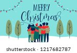 merry christmas greeting card... | Shutterstock .eps vector #1217682787