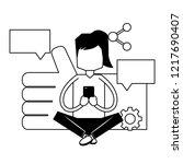 woman using mobile social media | Shutterstock .eps vector #1217690407