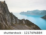 travel norway vacations man... | Shutterstock . vector #1217696884