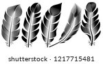 collection of feather... | Shutterstock .eps vector #1217715481