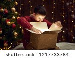 child boy sitting with gift box ... | Shutterstock . vector #1217733784