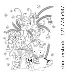 christmas coloring page for... | Shutterstock .eps vector #1217735437