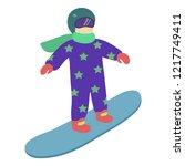 children is riding a snowboard...   Shutterstock .eps vector #1217749411