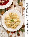 dumplings with mushroom cabbage ... | Shutterstock . vector #1217754361