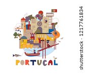 portugal. map of attractions of ... | Shutterstock .eps vector #1217761834