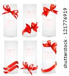 set of gift tags with red gift... | Shutterstock .eps vector #121776919