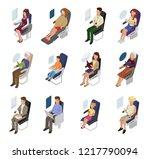 airplane passenger vector... | Shutterstock .eps vector #1217790094