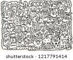hand drawn doodle funny dogs... | Shutterstock .eps vector #1217791414