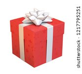 red gift box with white bow and ... | Shutterstock . vector #1217795251