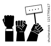 fist up demonstration icon.... | Shutterstock .eps vector #1217795617