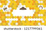 bee  wax moth  waxworm  bee comb | Shutterstock .eps vector #1217799361